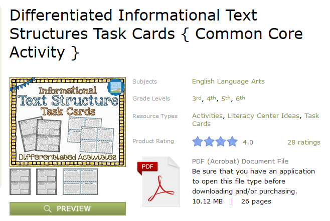 http://www.teacherspayteachers.com/Product/Differentiated-Informational-Text-Structures-Task-Cards-Common-Core-Activity--1057257#tab_ratings_feedback