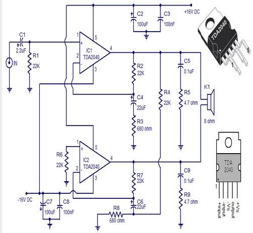 Circuit Amplificateur Audio A Base De Tda2040