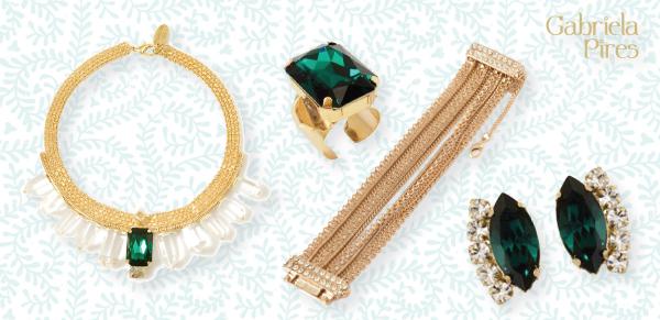 Semi jóias - acessórios - maxi colar - brinco - anel - pulseira - bracelete - ouro - dourado - pedra verde esmeralda - loja Gabriela Pires - bijuterias