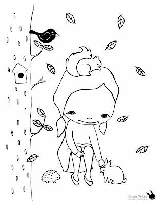 Kleurplaat 'Olive en haar vriendjes in het bos'