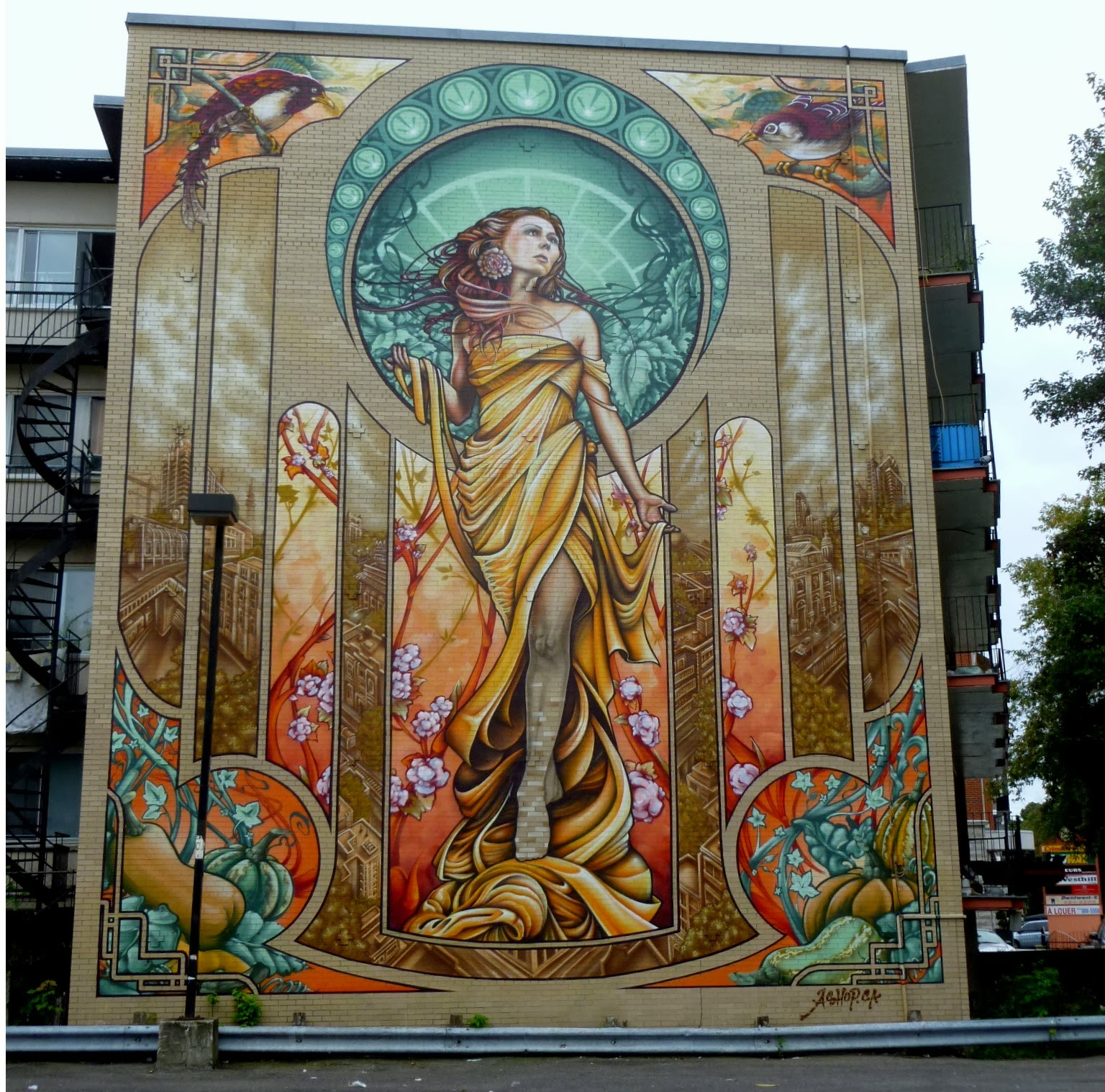 Photo ops mural our lady of grace montr al pq canada for Art mural montreal