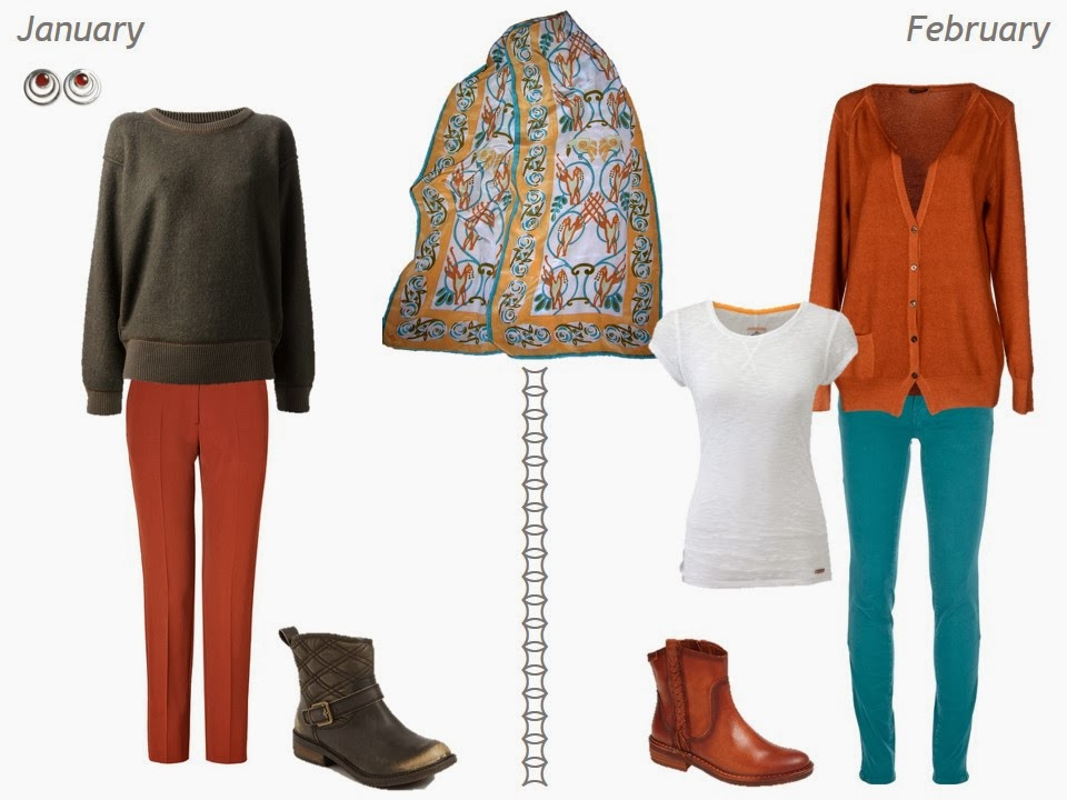 olive and terra cotta outfits to wear with a celtic patterned scarf