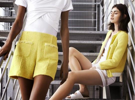 Zara primavera verão 2014 shorts amarelo e branco