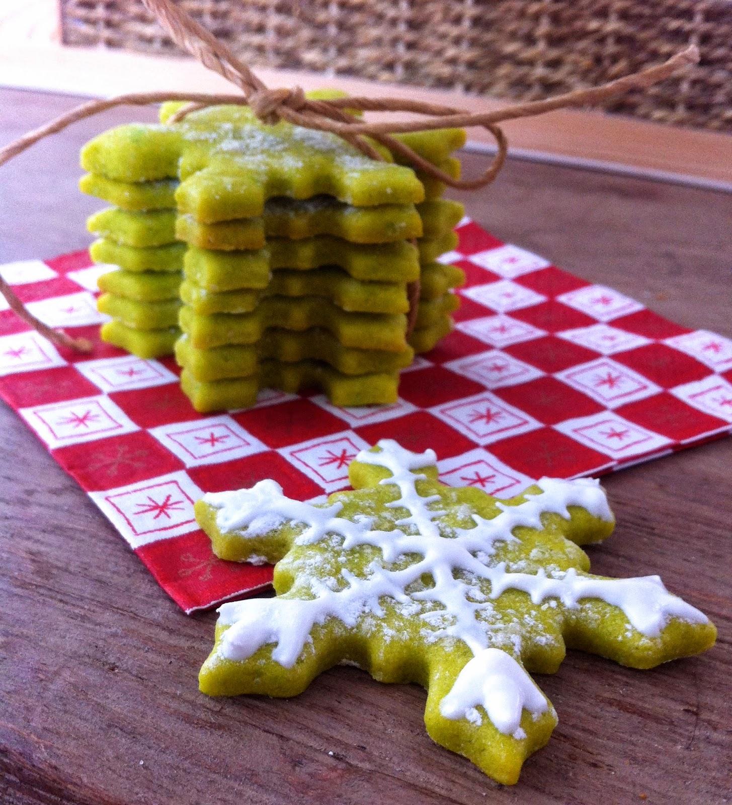 sablés pistache vanille emporte pièce flocon glaçage