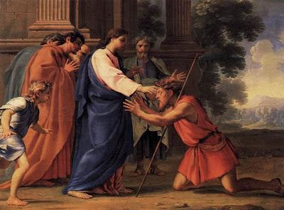 """""""Cristo Curando o Homem Cego"""" - óleo sobre madeira de Eustache Le Sueur (1616–1655) . Imagem de domínio público."""