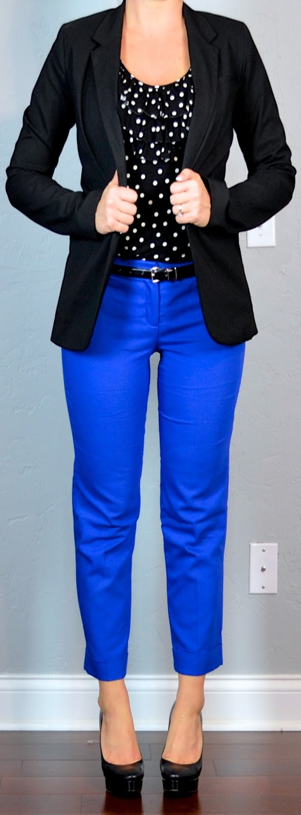 Outfit Posts outfit post polka-dot top black jacket blue cropped pants