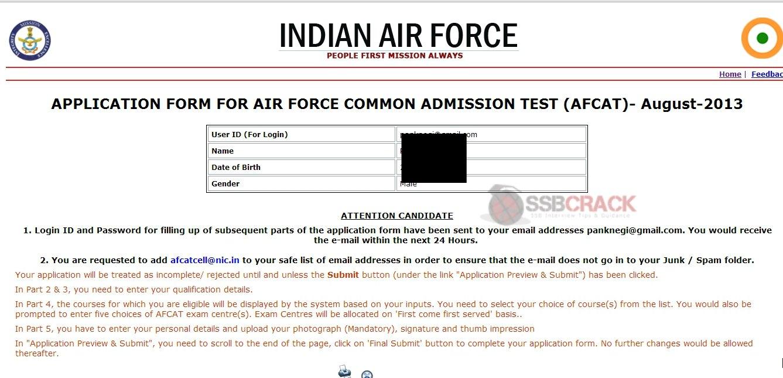 to fill AFCAT 02/2013 Online Application Form