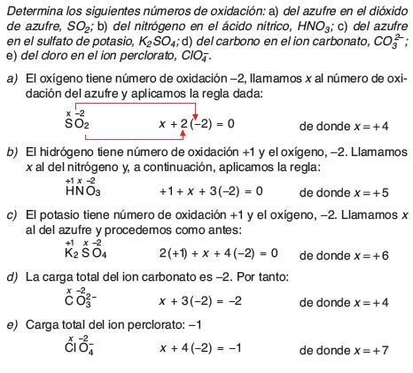 Ejemplo de determinacion del numero de oxidacion