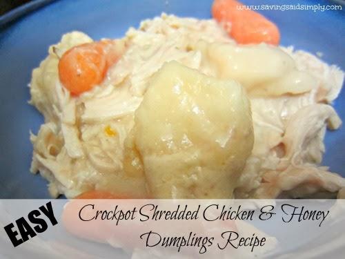 Easy Crockpot Shredded Chicken & Honey Dumplings Recipe - Saving Said ...