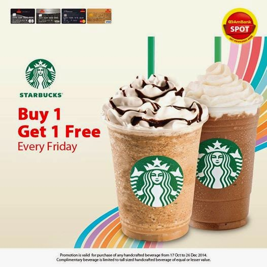 3 days ago· Grab a friend and head to Starbucks! From December 14th, starting at 3pm, through December 16th, head to Starbucks where they will be offering Buy One, Get One FREE Espresso beverages and Hot Chocolate – grande size or larger! The offer excludes brewed coffee, ready-to-drink beverages and Starbucks Reserve beverages.