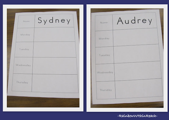 photo of: Fine Motor Sign-in System Teaching First Name Handwriting Skills