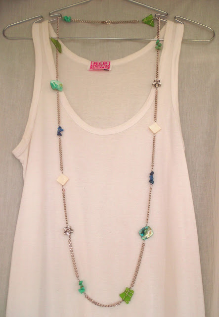 green seaglass, turquoise, mother of pearl, lapis lazuli, metal beads and shell on stainless steel chain rope necklace