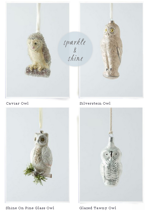 Anthropologie Owl Ornaments Holiday