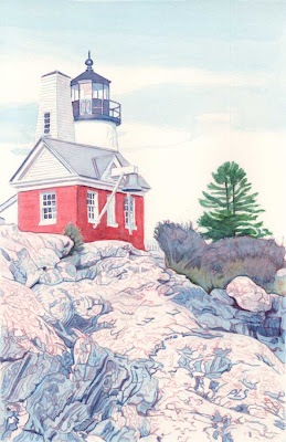 Pemaquid Light VIII - Watercolor by Paul Sherman
