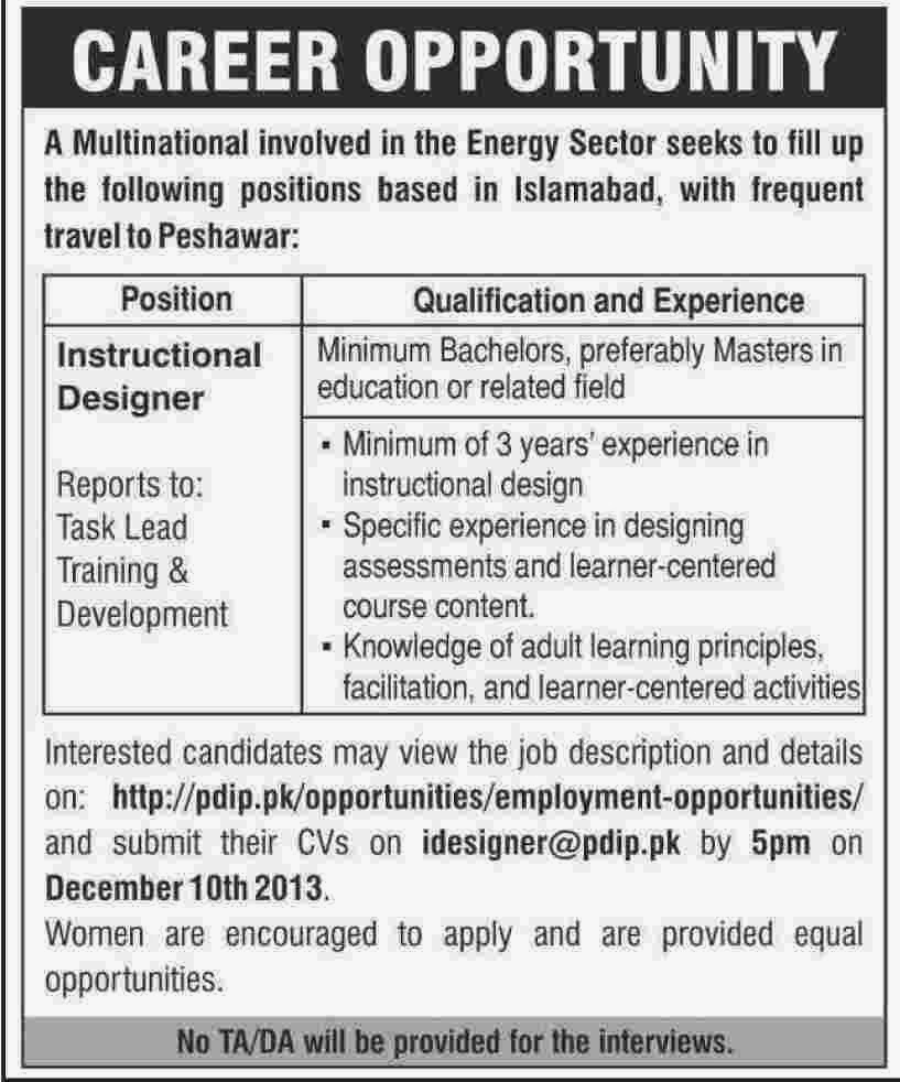 Required Instructional Designer In Multinational Energy Sector Islamabad