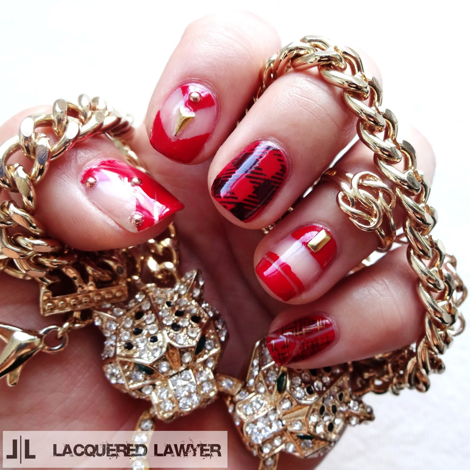 Red Plaid Nail Art