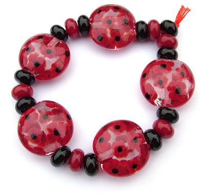 Lampwork Glass Lentil Beads