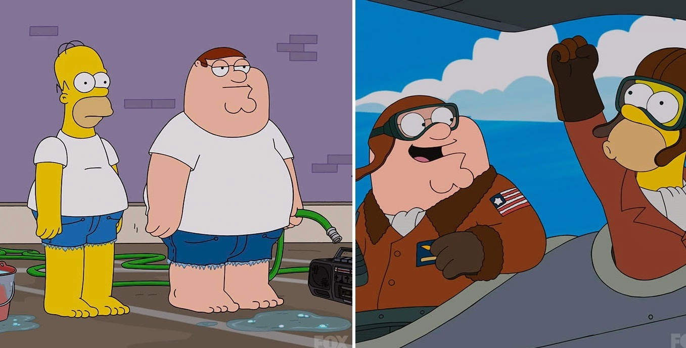 Homer Simpson and Peter Griffin car wash service and then pilot a plane to find the stolen car