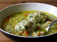 Chickpea Noodle Soup with Herb Dumplings