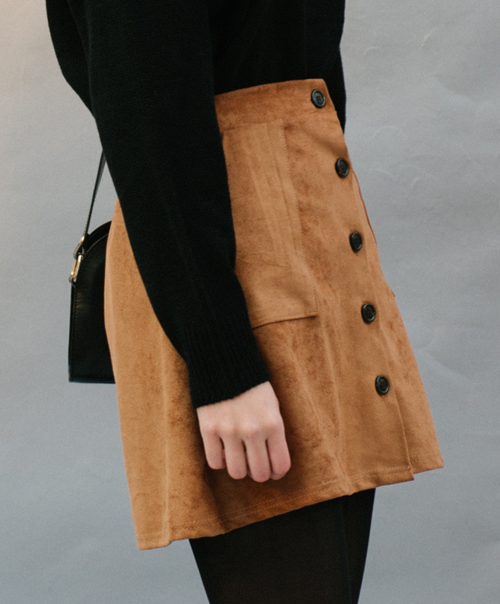 Suede Button-Front A-Line Skirt
