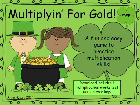 http://www.teacherspayteachers.com/Product/Multiplyin-For-Gold-Free-St-Patricks-Day-Printable-1111448
