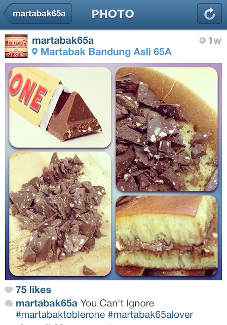 Screen capture of Martabak Pecenongan 65A's Instagram Post on Martabak Toblerone