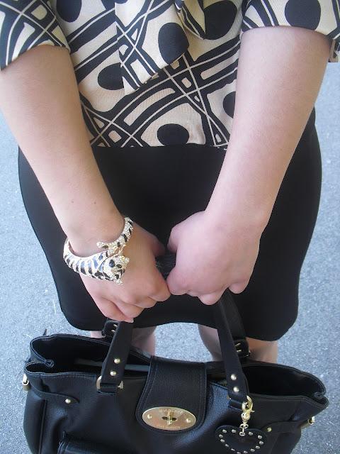 Forever 21 Tiger Bracelet and Black Pencil Skirt