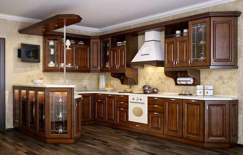 Traditional Kitchens With Warm Brown Wood Cabinets