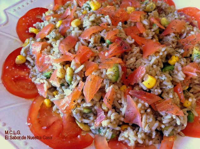 Ensalada de arroz con aguacate y salm n ahumado - Ensalada salmon y aguacate ...