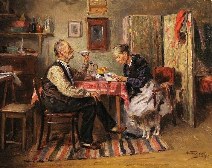 Vladímir Makovski. El té de la mañana, 1891