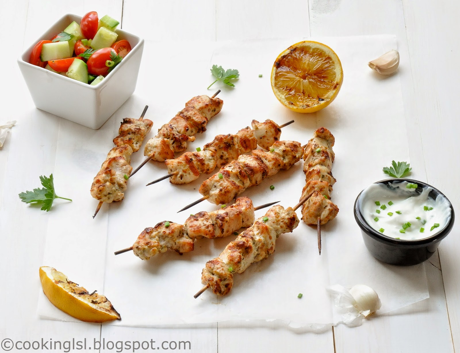 grilled marinated chicken skewers