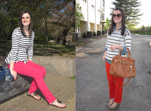 striped peplum top, pink pants, J.Brand jeans, J.Crew, chambray, stripes and sequins