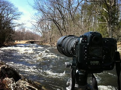 Camera rig by the side of a stream - photo by Michael Alden