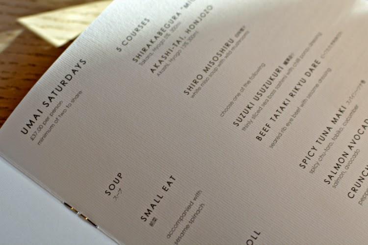 Sake no Hana Umai Saturdays menu