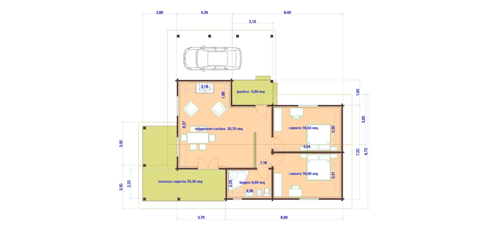 Progetti di case in legno casa 91 mq porticati 31 mq for Progetti di piani casa fienile