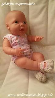 gehäkelte Puppenschuhe, Ballerinas perfekt für 42 cm Newborn Puppen