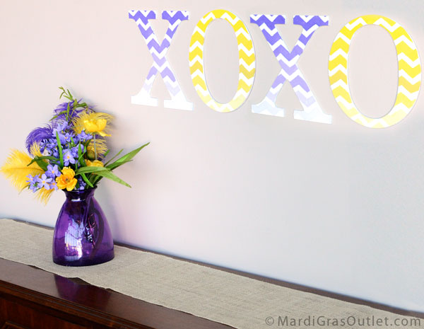 Chevron pattern ombre stencil on decorative letters by MardiGrasOutlet.com