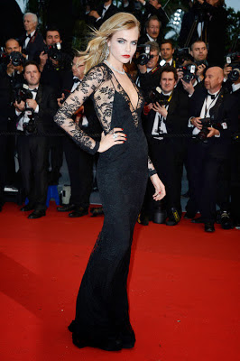 Cara Delevingne Cannes Film Festival 2013 style, black lace, red lips