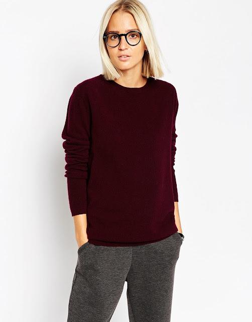 burgundy cashmere jumper, wine cashmere jumper, maroon cashmere jumper,