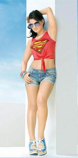 Amisha Patel in short superman tee and hot-pants