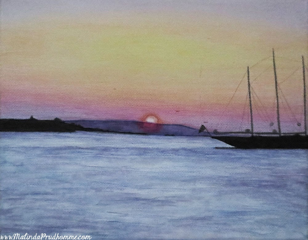mykonos, mykonos sunset, sunset, art, painting, mixed media, mixed media art, mixed media painting, travel, travel artist, travel art, travel artwork, greek, greece, greek islands, island sunset, water, malinda prudhomme, original artwork,
