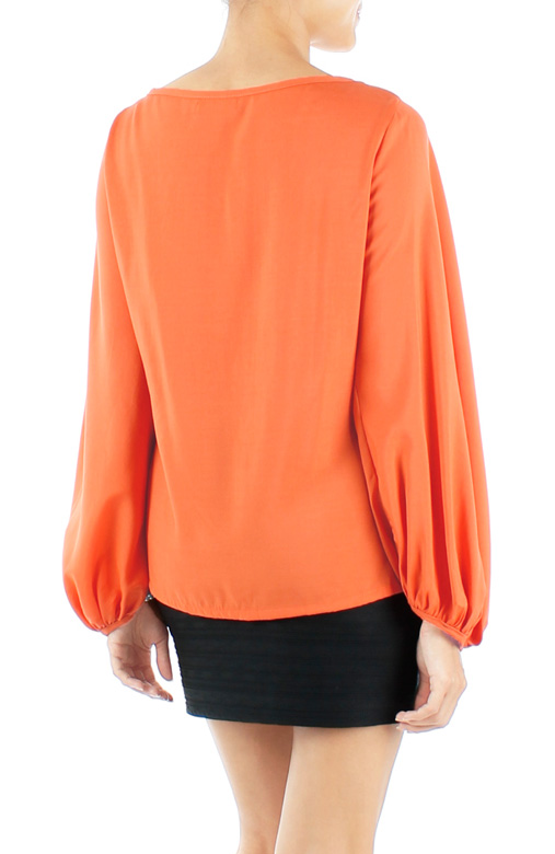 Tangerine Bishop Long Sleeve Blouse with Pintuck Detail