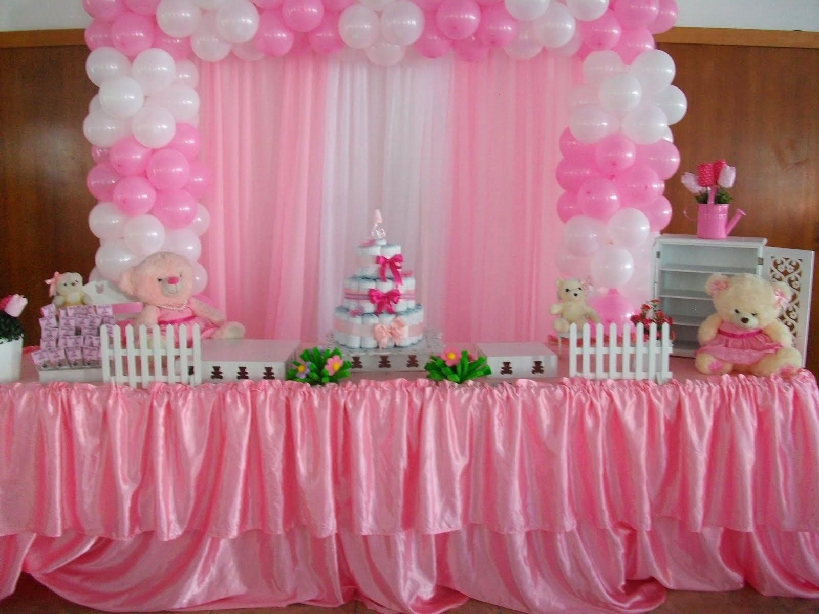 Chá de bebê ursos rosa e branco