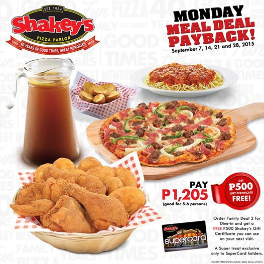 Look Forward to Mondays with Shakeys Philippines Monday Meal Deal Payback Promo