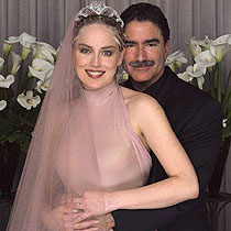 Sharon Stone marriage Phil Bronstein wearing dusty pink wedding dress