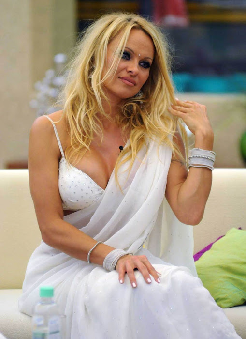 pamela anderson in a bikini blouse saree hot images
