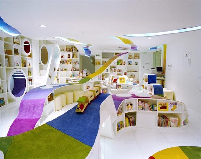 مكتبة الأطفال في الصين مكتبة رائعة بكل ألوان الطيف The-Kid-Republic