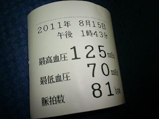 写真:血圧測定結果の紙