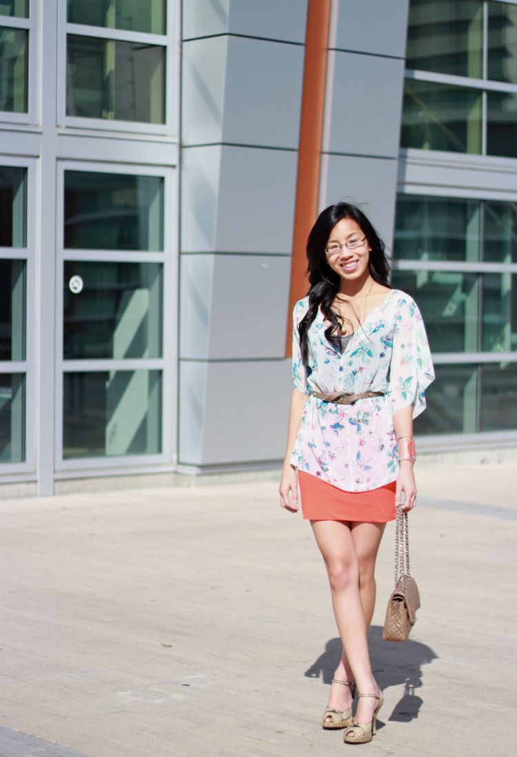Rachel Rachel Roy flowy floral print top orange mini skirt complementary color combo colorblock outfit