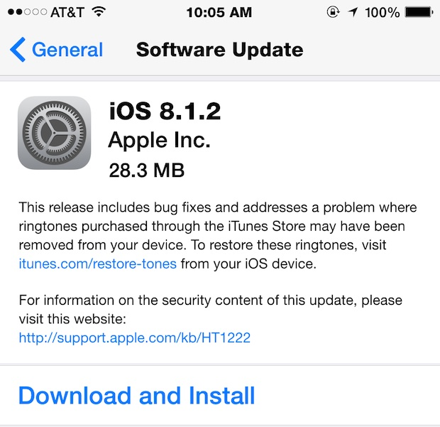 Apple iOS 8.1.2 Firmware (Build-12B440) OTA